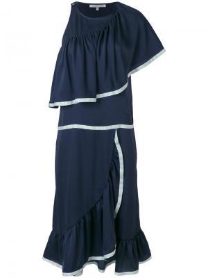 Коктейльное платье в морском стиле с рюшами Maison Père. Цвет: синий