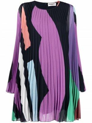 Плиссированное платье с абстрактным принтом Essentiel Antwerp. Цвет: синий