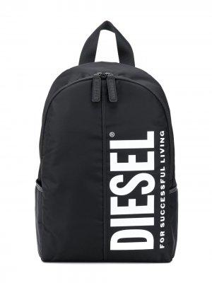 Рюкзак на молнии с логотипом Diesel Kids. Цвет: черный