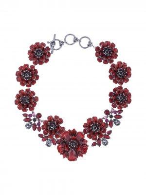 Цветочное колье Poppy Marchesa Notte. Цвет: красный