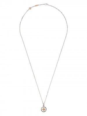 Колье с подвеской из розового и белого золота бриллиантами Zancan. Цвет: серебристый