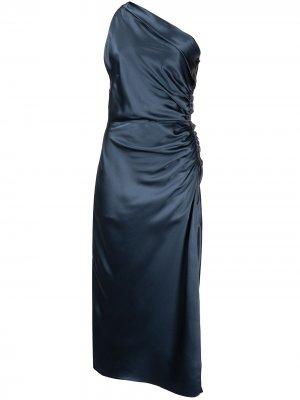 Платье на одно плечо Michelle Mason. Цвет: синий