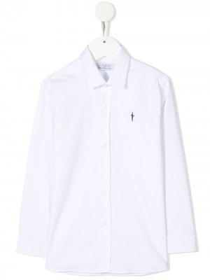 Рубашка с вышитым логотипом Cesare Paciotti 4Us Kids. Цвет: белый