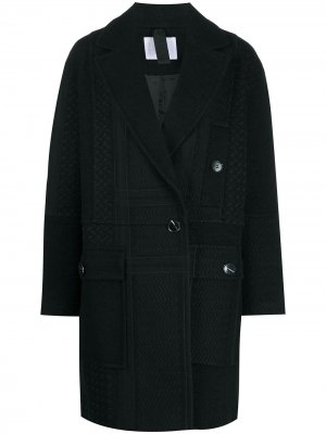 Двубортное пальто Kufiya с вышивкой Lala Berlin. Цвет: черный