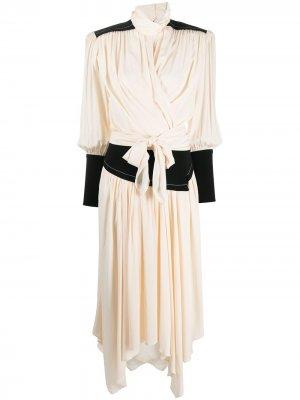 Платье миди с драпировкой Proenza Schouler. Цвет: нейтральные цвета