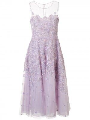Платье из тюля с цветочной вышивкой Zuhair Murad. Цвет: фиолетовый