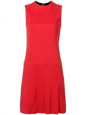 Плиссированное расклешенное платье Akris Punto. Цвет: красный