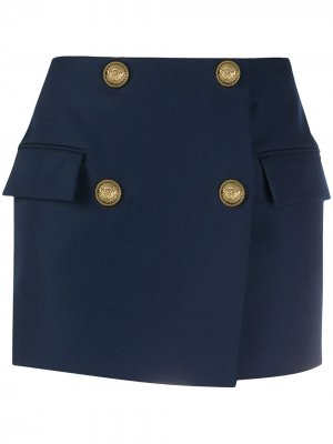 Двубортная юбка мини Balmain. Цвет: синий
