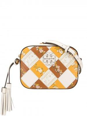 Каркасная сумка с плетением и цветочным принтом Tory Burch. Цвет: белый