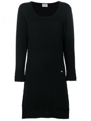 Вязаное платье с узором Chanel Vintage. Цвет: черный
