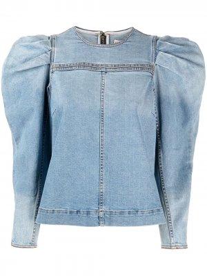 Джинсовая блузка с пышными рукавами Ulla Johnson. Цвет: синий