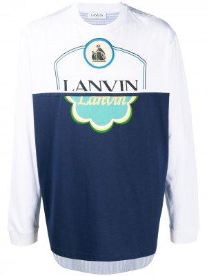 Футболка с длинными рукавами и логотипом LANVIN. Цвет: синий