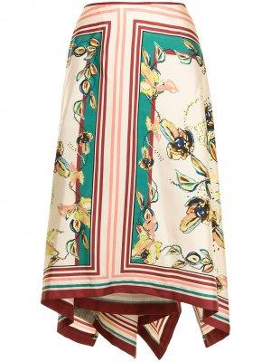 Юбка с асимметричным подолом и цветочным принтом Antonio Marras. Цвет: разноцветный