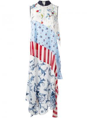 Длинное платье лоскутного кроя Antonio Marras. Цвет: синий