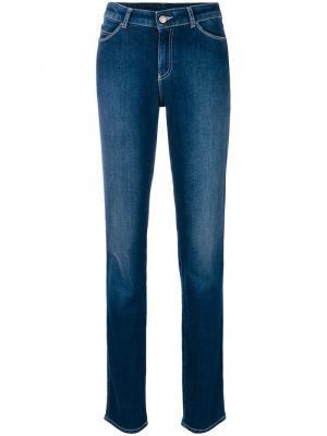 Зауженные джинсы с выбеленным эффектом Emporio Armani. Цвет: синий