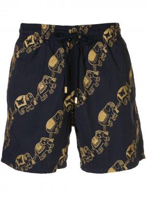 Плавки-шорты с вышивкой Vilebrequin. Цвет: синий