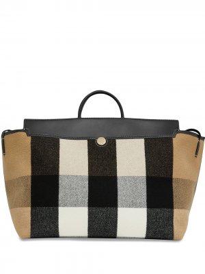 Дорожная сумка Society в клетку Burberry. Цвет: коричневый