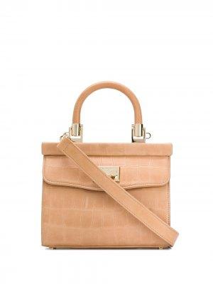 Маленькая сумка-тоут Paris с тиснением под кожу крокодила Rodo. Цвет: нейтральные цвета