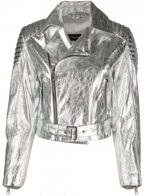 Байкерская куртка с эффектом металлик Manokhi. Цвет: серый