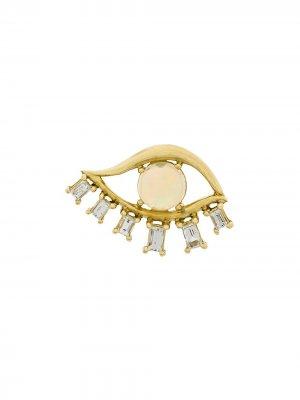 Серьга из желтого золота с бриллиантами и опалом Ileana Makri. Цвет: золотистый