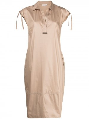 Платье с короткими рукавами и завязками Peserico. Цвет: коричневый