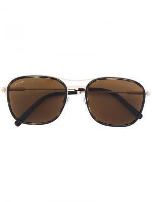 Солнцезащитные очки с квадратной оправой Bulgari. Цвет: металлик