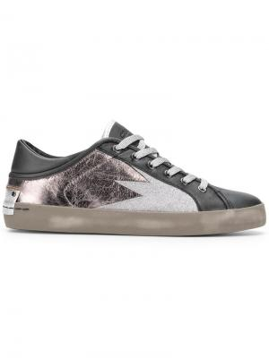 Metallic lace-up sneakers Crime London. Цвет: черный