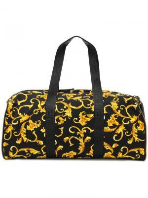 Дорожная сумка с принтом в стиле барокко Versace. Цвет: черный