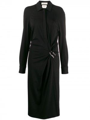 Декорированное платье-рубашка Bottega Veneta. Цвет: черный