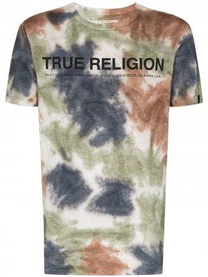 Футболка с принтом тай-дай и логотипом True Religion. Цвет: коричневый