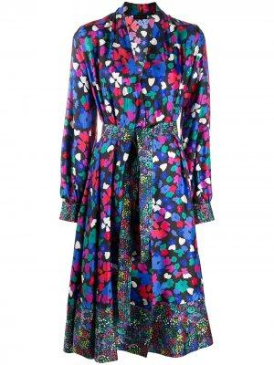 Платье Wildflowers с запахом и цветочным принтом Stine Goya. Цвет: черный