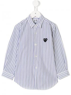Рубашка в полоску Comme Des Garçons Play Kids. Цвет: белый