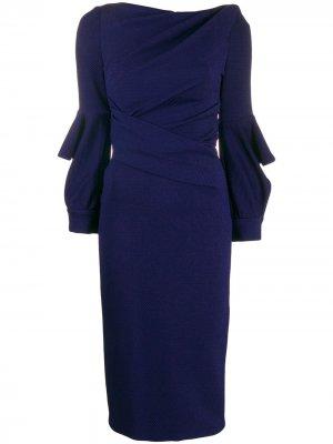 Облегающее платье с запахом Talbot Runhof. Цвет: синий