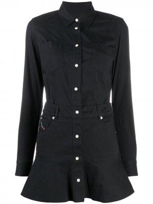 Платье-рубашка с расклешенным подолом Diesel. Цвет: черный