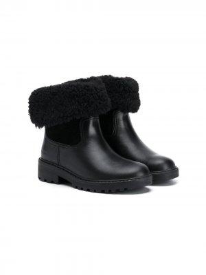 Зимние ботинки с подкладкой из овчины Geox Kids. Цвет: черный