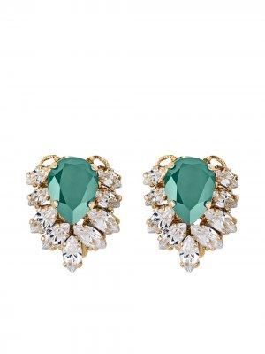 Серьги Julie с кристаллами Anton Heunis. Цвет: зеленый