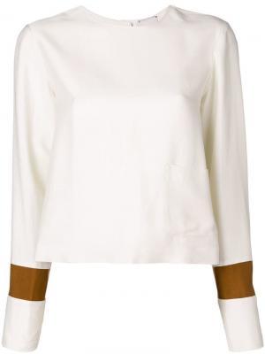 Блузка с манжетами контрастной полоской Alysi. Цвет: нейтральные цвета