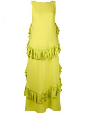 Платье шифт с рюшами Nº21. Цвет: зеленый