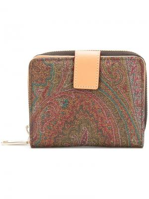 Paisley printed zip purse Etro. Цвет: коричневый