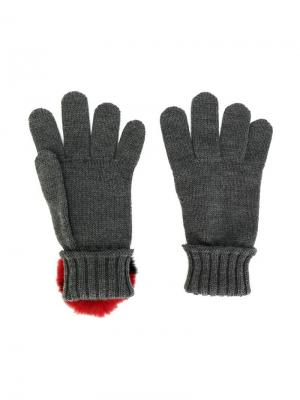 Вязаные перчатки Dolce & Gabbana Kids. Цвет: серый