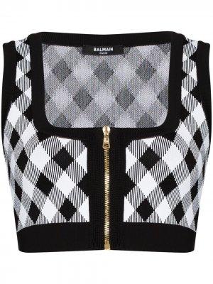 Gingham zipped knitted top Balmain. Цвет: черный