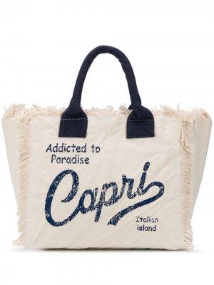 Пляжная сумка с надписью и бахромой Mc2 Saint Barth. Цвет: нейтральные цвета