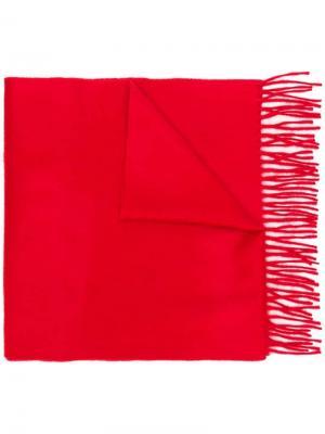 Classic cashmere fringed scarf Begg & Co. Цвет: красный