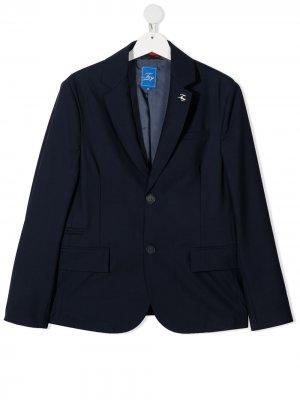 Однобортный пиджак строгого кроя Fay Kids. Цвет: синий