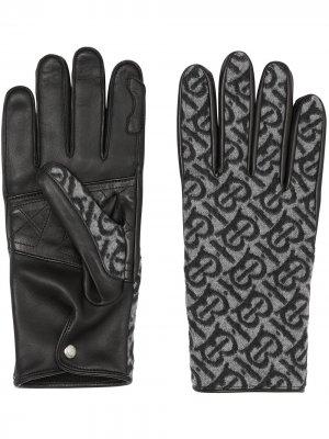 Monogram cashmere-lined gloves Burberry. Цвет: черный