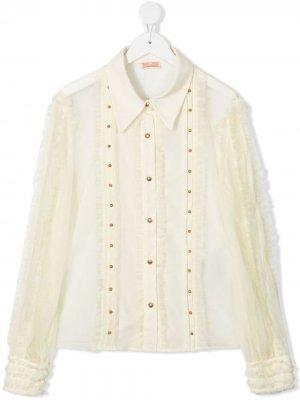 Рубашка с оборками Elisabetta Franchi La Mia Bambina. Цвет: нейтральные цвета