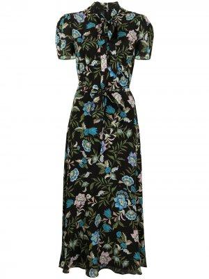 Платье миди Elmer с цветочным принтом Erdem. Цвет: черный