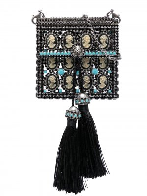 Мини-сумка с бахромой Ermanno Scervino. Цвет: черный