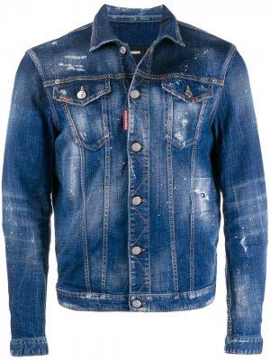 Джинсовая куртка с эффектом разбрызганной краски Dsquared2. Цвет: синий