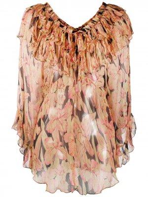Блузка с цветочным принтом и оборками Mes Demoiselles. Цвет: оранжевый
